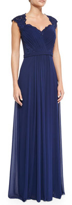 La Femme Belted Lace & Chiffon Gown, Navy $490 thestylecure.com