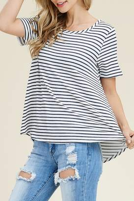 Riah Fashion Scoop-Neck Striped Tee