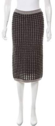 Leroy Veronique Open-Knit Knee-Length Skirt