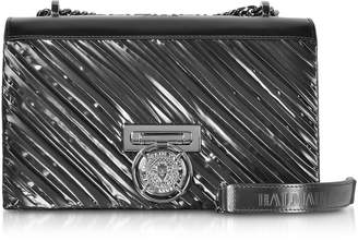 Balmain Black Smooth Leather and Fabric BBox 25 Flap Shoulder Bag