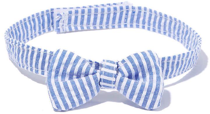 Blue Pinstripe Bow Tie