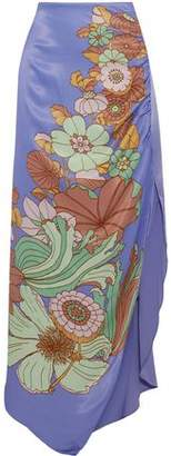 Peter Pilotto Split-front Floral-print Charmeuse Maxi Skirt