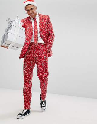 Oppo Suits OppoSuits Suit + Tie In Xmas Print