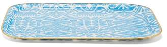 Les Ottomans - Gold Trim Abstract Print Tray - Blue Multi