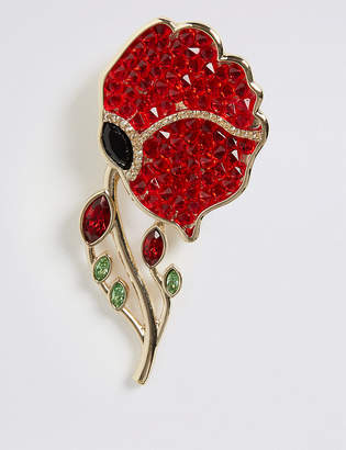 Marks and Spencer The Poppy Collection Poppy Brooch with Swarovski Crystals