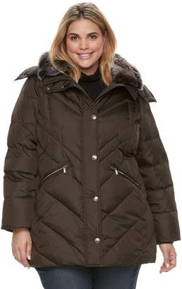 London Fog Tower By Plus Size TOWER by Faux-Fur Trim Puffer Coat
