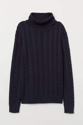 H&M Cable-knit Turtleneck Sweater - Blue