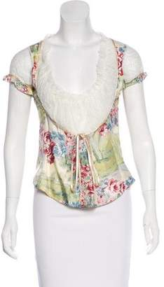 Blumarine Silk Lace-Accented Top w/ Tags