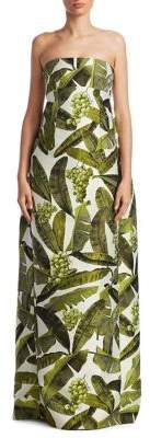 Oscar de la Renta Strapless Leaf Gown