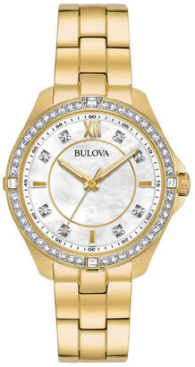 Bulova 35mm Crystal Bezel Watch w/ Bracelet Strap, Gold