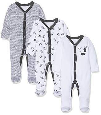 Mothercare Unisex Baby Black and White Cow Sleepsuits - 3 Pack Bodysuit,(Manufacturer Size:62CM)
