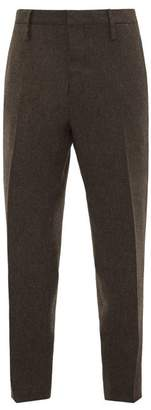Aldo Maria Camillo - Tapered Leg Herringbone Wool Trousers - Mens - Brown