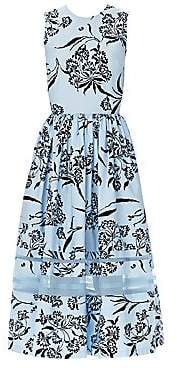Carolina Herrera Women's Stretch Cotton Floral Sleeveless Dress
