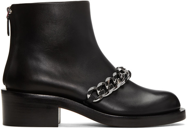Givenchy Black Leather Chain Boots