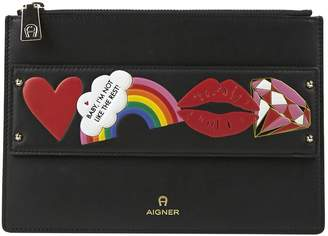 Aigner Black Leather Clutch Bag