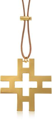 Tory Burch Tory Gold Brass and Brown Leather Cord H Pendant Necklace