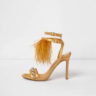 River Island Womens Yellow satin feather gem heeled sandals