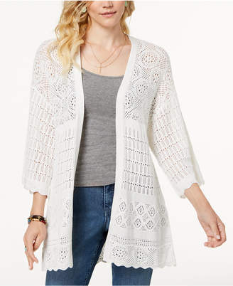 Style&Co. Style & Co Kimono-Sleeve Pointelle-Knit Cardigan, Created for Macy's