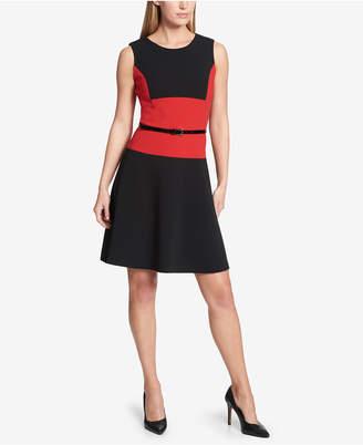 Tommy Hilfiger Belted Colorblocked A-Line Dress