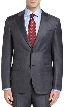 Canali Sharkskin Super 130s Wool Two-Piece Suit, Gray $1,895 thestylecure.com