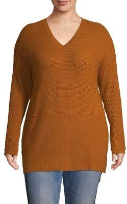 Lord & Taylor Plus Textured Pullover Sweater