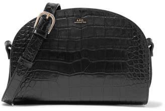A.P.C. Demi-lune Croc-effect Leather Shoulder Bag - Black
