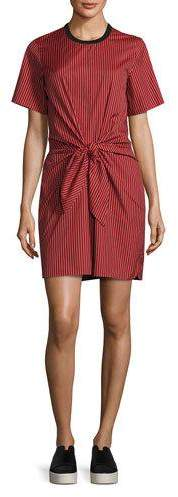 3.1 Phillip Lim 3.1 Phillip Lim Short-Sleeve Striped Knotted Crepe Dress, Poppy/Black