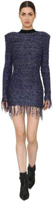Balmain Fringed Tweed & Lurex Mini Dress