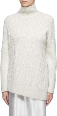 Vince Asymmetric Merino wool blend cable knit turtleneck sweater