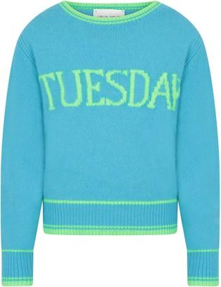 Alberta Ferretti Light Blue Girl Sweater With Neon Green Writing