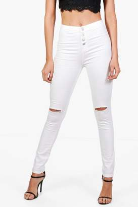 boohoo Veanne High Waisted Button Fly Skinny Jeans