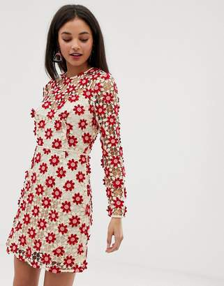 Talulah Britain floral lace long sleeved dress