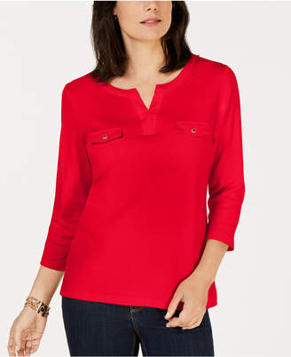 Karen Scott Petite Cotton Split-Neck Top