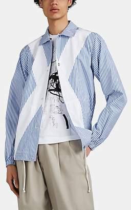 Comme des Garcons Men's X Striped End-On-End Cotton Snap-Front Shirt - Blue