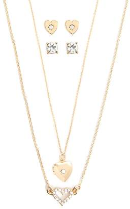 Forever 21 Heart Charm Necklaces & Earrings Set