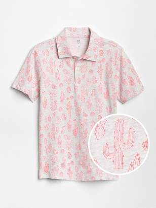 Gap Print Short Sleeve Polo Shirt
