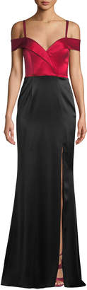 Catherine Deane Liza Off-the-Shoulder Colorblock Gown in Satin