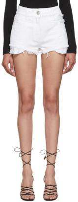Balmain White Denim Frayed Shorts