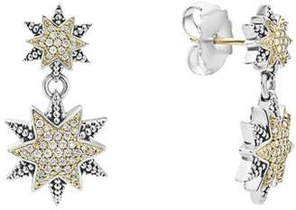Lagos 18K Gold & Sterling Silver North Star Diamond Double Drop Earrings
