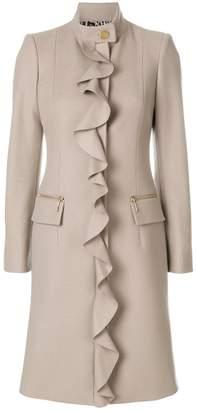 Just Cavalli ruffle trim coat