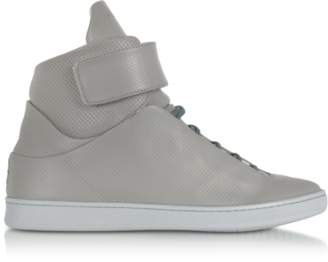 Ylati Virgilio Grey Perforated Nappa Leather High Top Men's Sneakers