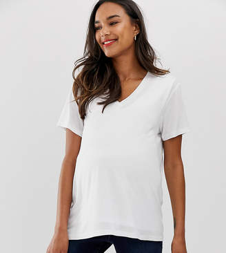 Asos Nursing DESIGN Maternity nursing v-neck t-shirt in white