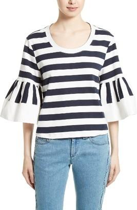 Women's See By Chloe Stripe Jersey Bell Sleeve Top $225 thestylecure.com