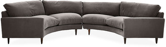 Robin Bruce Oslo Curved Sectional - Charcoal Velvet