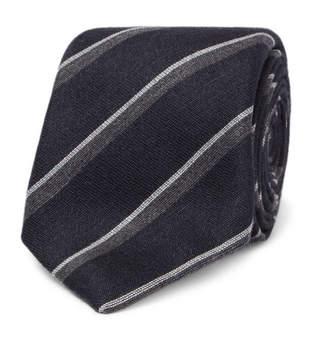 Canali 8cm Striped Silk And Cashmere-Blend Tie