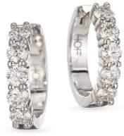 Hearts On Fire Diamond& 18K White Gold Hoop Earrings