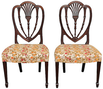 One Kings Lane Vintage Sheraton Carved Side Chairs - Set of 2 - Something Vintage