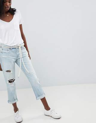 Abercrombie & Fitch Midrise Straight Leg Jean With Rips And Distressing