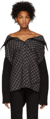 Ambush Grey Nobo Check Off-The-Shoulder Shirt