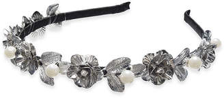 INC International Concepts I.N.C. Silver-Tone Imitation Pearl Leaf Head Band, Created for Macy's